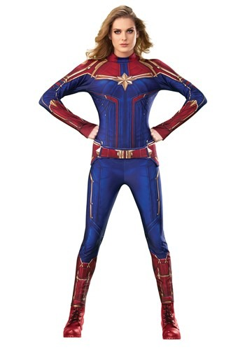 Click Here to buy Captain Marvel Deluxe Womens Costume from HalloweenCostumes, CDN Funds & Shipping