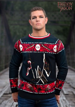 Freddy vs Jason Adult Halloween Sweater 1