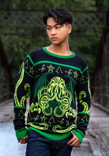 Adult Rage of Cthulhu Ugly Halloween Sweater 1