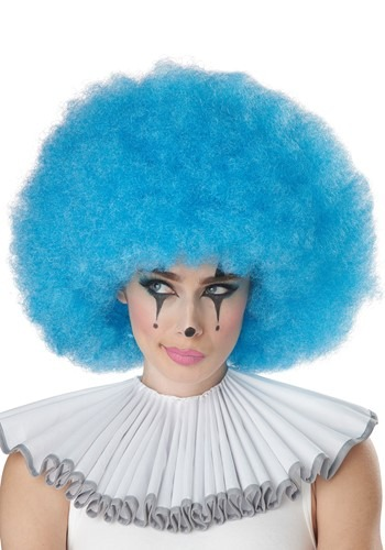 Blue Jumbo Afro Clown Wig