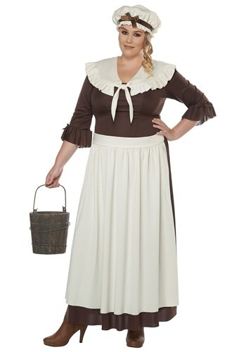 Plus Size Colonial Village Woman Costume