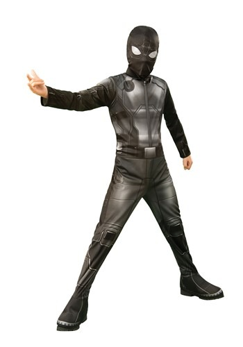 Click Here to buy Kids Spider-Man Far From Home Spider-Man Classic Stealth Costume from HalloweenCostumes, CDN Funds & Shipping
