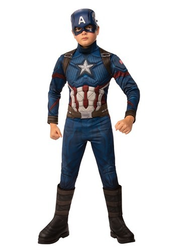 Click Here to buy Marvel Avengers Endgame Boys Captain America Deluxe Costume from HalloweenCostumes, CDN Funds