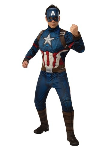 Click Here to buy Avengers Endgame Deluxe Captain America Mens Costume from HalloweenCostumes, CDN Funds & Shipping