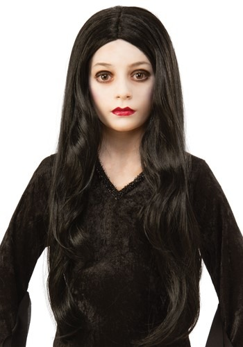 Click Here to buy The Addams Family Morticia Kids Wig Accessory from HalloweenCostumes, CDN Funds & Shipping