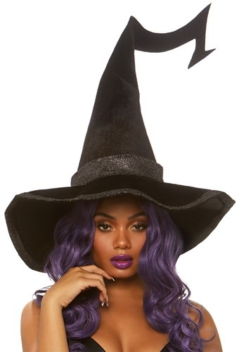 Click Here to buy Velvet Bewitched Witch Hat with Brim from HalloweenCostumes, CDN Funds & Shipping
