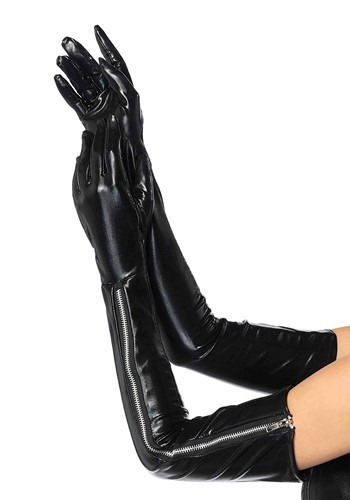 Click Here to buy Long Black Vinyl Zipper Gloves for Women from HalloweenCostumes, CDN Funds & Shipping