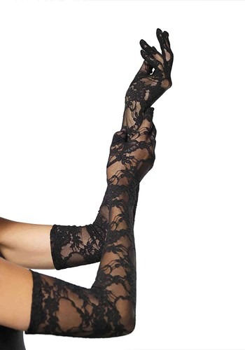 Mid-Upper Arm Length Black Lace Gloves for Women