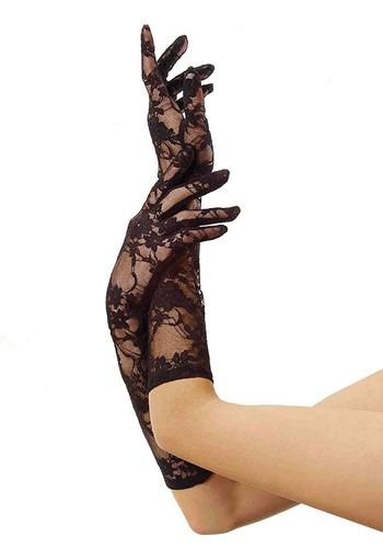 Medium Length Black Lace Gloves for Women