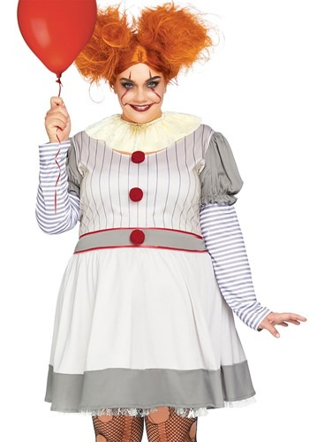 Click Here to buy Womens Plus Size Creepy Clown Costume from HalloweenCostumes, CDN Funds & Shipping