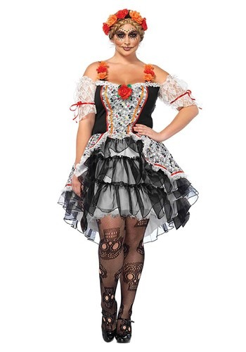 Womens Plus Size Sugar Skull Senorita Costume
