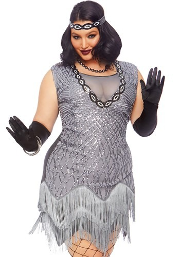 Click Here to buy Roaring Roxy Flapper Womens Plus Size Costume from HalloweenCostumes, CDN Funds & Shipping