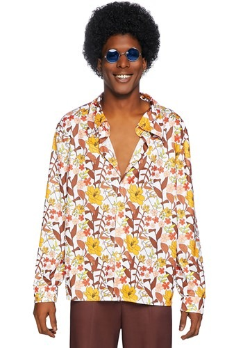 Click Here to buy 70s Floral Mens Shirt from HalloweenCostumes, CDN Funds & Shipping