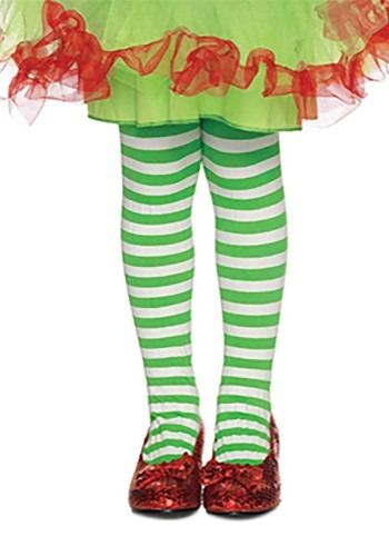 Green and White Striped Kids Tights