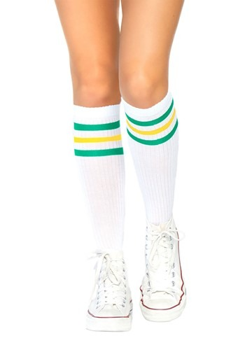 Green & Yellow Striped Athletic Socks