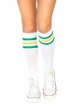 Green and Yellow Striped Athletic Socks