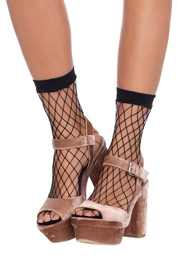 Black Fish Net Ankle Socks