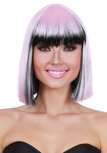 Two Tone Pink/Black Bob Wig for Women