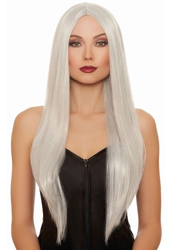 Long Straight Gray/White Mix Wig for Women