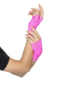 Pink Fingerless Lace Gloves