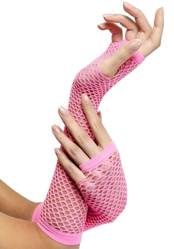 Pink Fingerless Fishnet Gloves