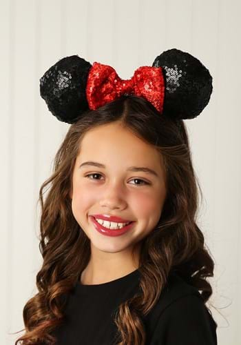 Click Here to buy Minnie Mouse Sequin Ears with Sequin Bow from HalloweenCostumes, CDN Funds & Shipping