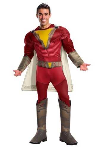 Click Here to buy Shazam! Deluxe Costume for Adults from HalloweenCostumes, CDN Funds & Shipping