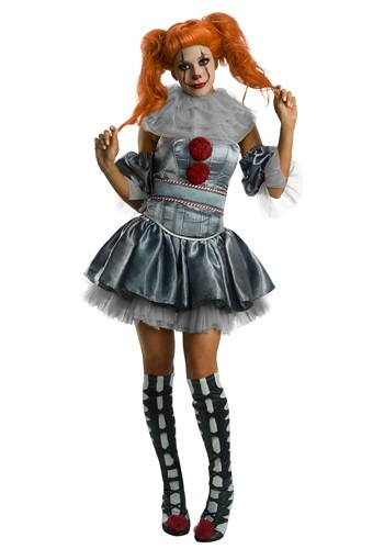 Click Here to buy IT Deluxe Pennywise Dress Womens Costume from HalloweenCostumes, CDN Funds & Shipping