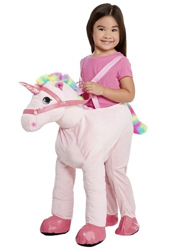 Click Here to buy Kids Ride on Pink Unicorn Costume from HalloweenCostumes, CDN Funds & Shipping