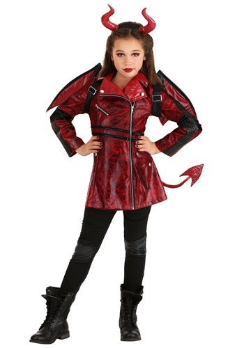 Girls Leather Devil Costume