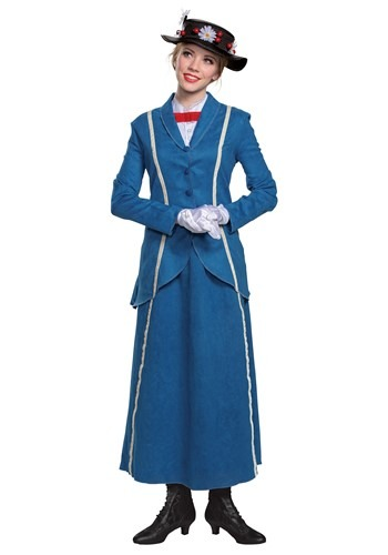 Click Here to buy Mary Poppins Womens Blue Coat Costume from HalloweenCostumes, CDN Funds & Shipping