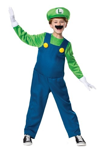 Click Here to buy The Super Mario Brothers Boys Luigi Deluxe Costume from HalloweenCostumes, CDN Funds & Shipping