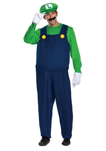 Click Here to buy Nintendo Super Mario Brothers Mens Luigi Deluxe Costume from HalloweenCostumes, CDN Funds & Shipping