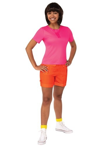 Click Here to buy Dora the Explorer Dora Deluxe Costume for Adults from HalloweenCostumes, CDN Funds & Shipping