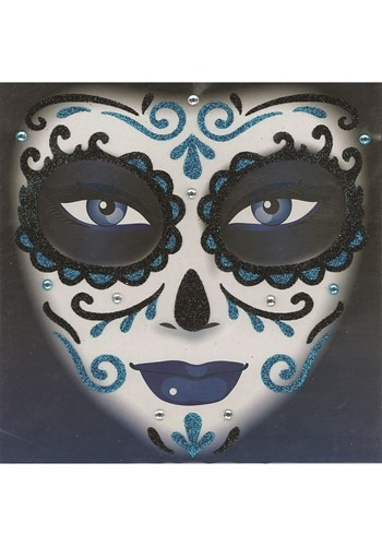 Day of the Dead Blue Glitter Tattoo