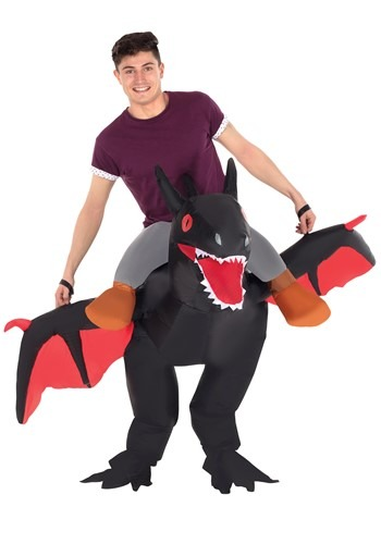 Funny Adult Inflatable Black Ride on Dragon Costume