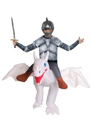 Child Inflatable White Ride on Dragon Costume