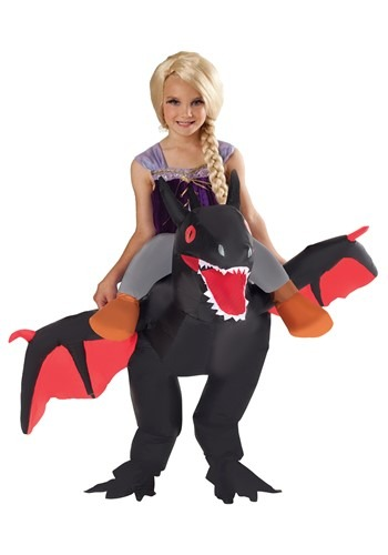 Child Inflatable Black Ride on Dragon Costume