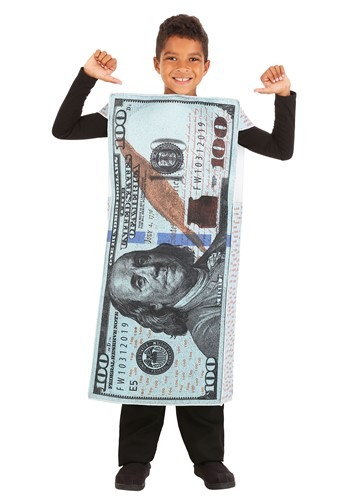 Click Here to buy Kids 100 Dollar Bill Costume from HalloweenCostumes, CDN Funds & Shipping