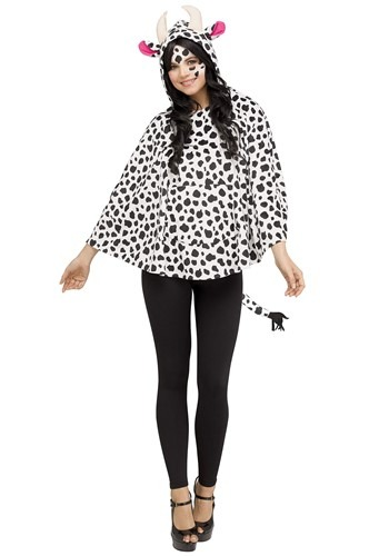 Womens Cow Costume Hooded Poncho