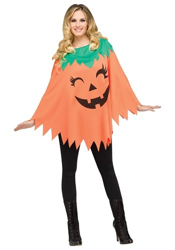 Womens Pumpkin Poncho