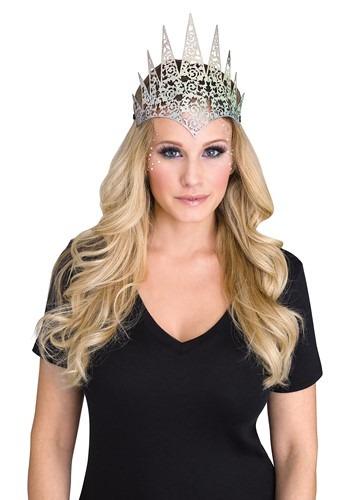 Womens Silver Flexible Glitter Crown