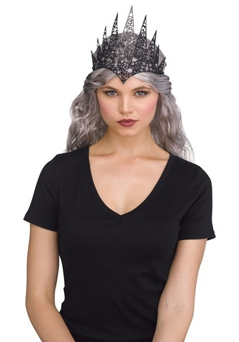 Womens Black Flexible Glitter Crown