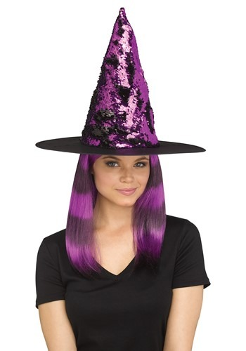 Womens Flip Sequin Purple Witch Hat