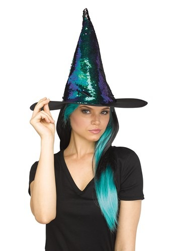 Click Here to buy Witch Hat Flip Sequin Teal from HalloweenCostumes, CDN Funds & Shipping