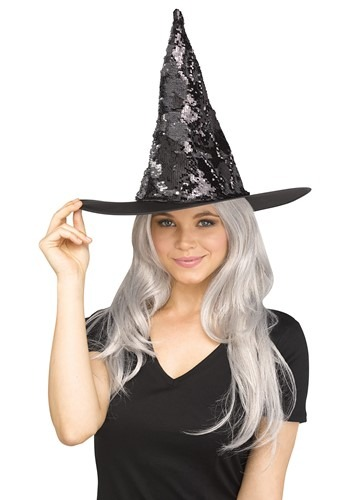 Silver Flip Sequin Witch Hat