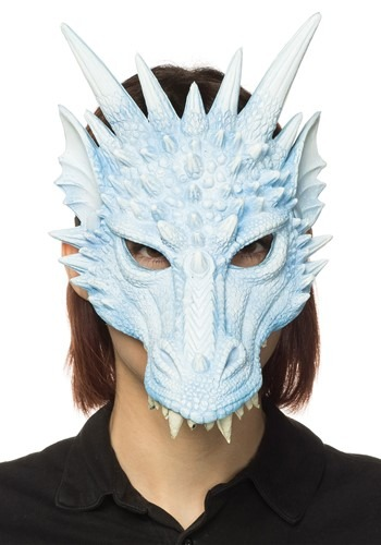 Horned Ice Blue Dragon Half Mask