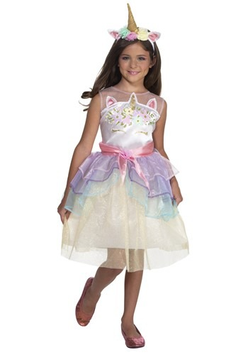 Girls Dashing Unicorn Dress Costume