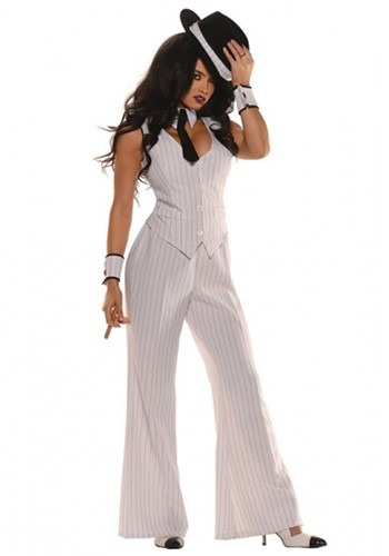 Women's White Gangster Costume