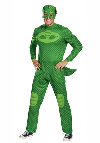 Click Here to buy PJ Masks Adult Gekko Classic Costume from HalloweenCostumes, CDN Funds & Shipping